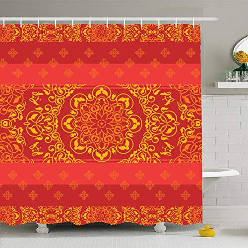 (Ahawoso Shower Curtain 72x72 Inches Tribal Red Pattern Ornamental Indian Abstract Ethnic Sari Arabesque Arabic Bollywood Border Design Gold Waterproof Polyester Fabric Set with Hooks)