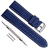 Quick Release Silicone Replacement Watch Band Soft Rubber Watch Straps with Stainless Metal Clasp Choice of Color & Width (22mm, Navy Blue)