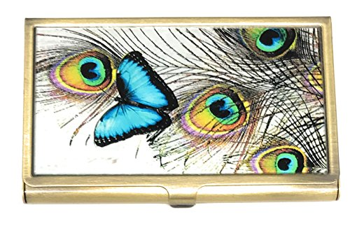 Value Arts Blue Butterfly and Peacock Feather Business Card Case, Brass and ()