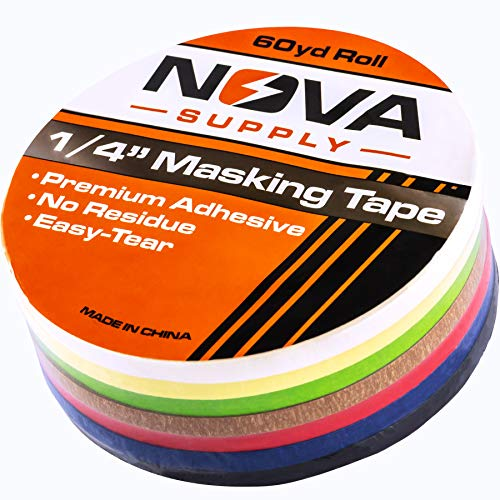 (Premium 7 Color Value Pack of 1/4in x 60yd Adhesive Masking Tape. Use in Arts and Crafts Projects, Painting, Labeling or for Home and Classroom Decorating. Organize and Color Code Folders and Boxes.)
