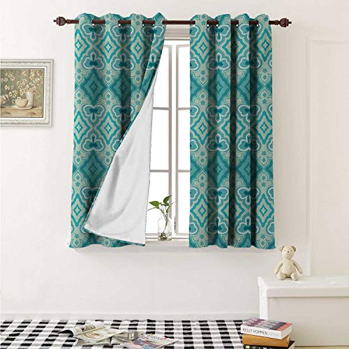 Teal Customized Curtains Abstract Geometric Pattern in Vintage Floral Design Historic Architectural Ornament Curtains for Kitchen Windows W63 x L45 Inch Teal ()