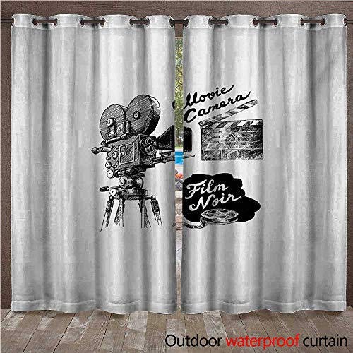- WilliamsDecor Movie Theater Outdoor Balcony Privacy Curtain Antique Movie Camera Hand Drawn Style Art Collection Film Noir Genre Theme W96 x L96(245cm x 245cm)