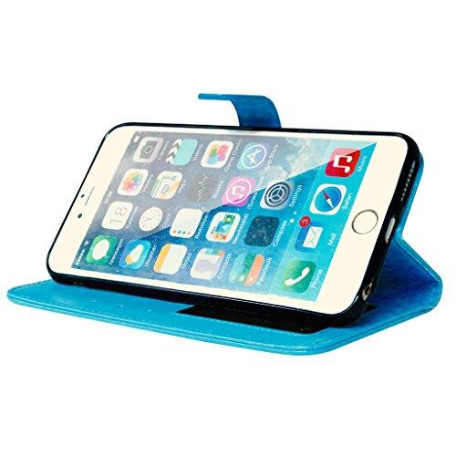 For iphone 6 6s (4.7inch) Coque Etui, Ougger Mode [3 Slot Pour Carte] Cadre-Photo Cuir Portefeuille Shell Léger Holster Cell Stand Flip Magnétique Strap Bumper Protecteur Pure Color Bleu