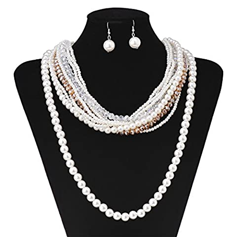 Fashion Charm Pendant Faux Shell Pearl Choker Chunky Statement Bib Necklace and Earrings Set - Pearl Graduation Charm