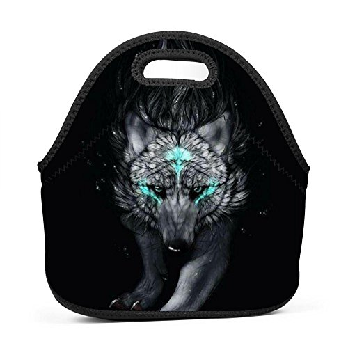 (Majestic Wolf Indian Tattoo Zip Lunch Bags Picnic Box Portable Bento Bag KD-S for School Office )