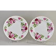 "SUMMERTIME ROSE 8"" Plate, Set of 2 - Fine English Bone China"