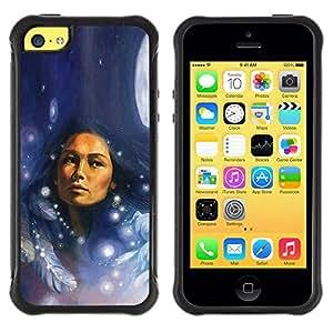 LASTONE PHONE CASE / Suave Silicona Caso Carcasa de Caucho Funda para Apple Iphone 5C / Native Indian Woman Feathers Moon Night