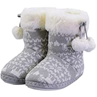 Kids Warm Plush Slippers for Winter Comfy Cute Knitted Soft Bedroom Bootie Shoes with Pom-poms(Toddler/Little Kid)