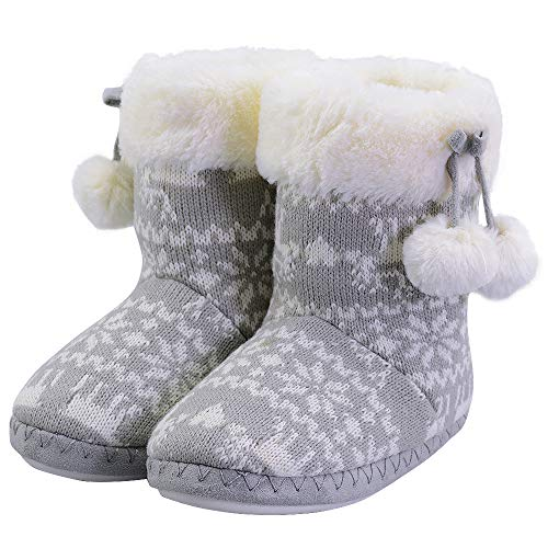 LA PLAGE Child Winter Warm Fluffy Cute Bedroom House Slippers Bootie Size Toddler 12-13 US Grey (Slipper Booties For Girls)