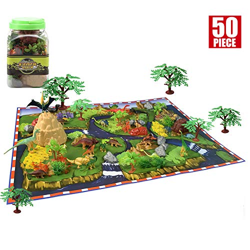 50 Pieces Educational Dinosaur Play Set - Dinosaur Toy for Boy, Top Dinosaur Gift Set, Create a Dino World Including Plastic Assorted Dinosaur Figures, Plant, Stone with 23