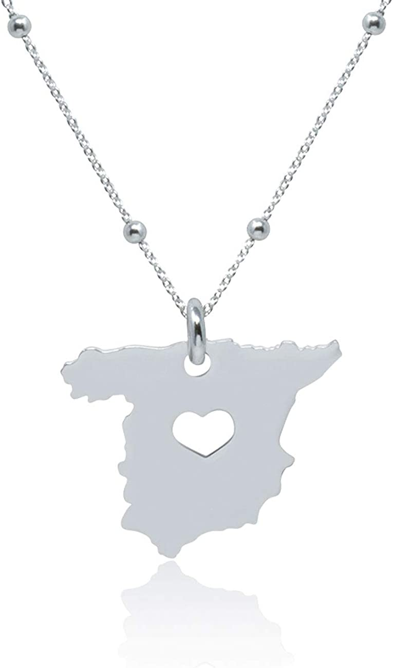 WANDA PLATA Collar Colgante Mapa de España para Mujer Plata de Ley 925, con Cadena de 40 cm + 5 cm ext en Caja de Regalo: Amazon.es: Joyería