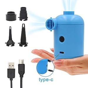 Mini Bomba de Aire Eléctrica, Inflador de Puerto Tipo C Portátil, llenado Rápido para Inflar/Desinflar, para Anillo de Natación, Colchón Inflable, Juguetes inflables, Colchón inflable Camping, Azul