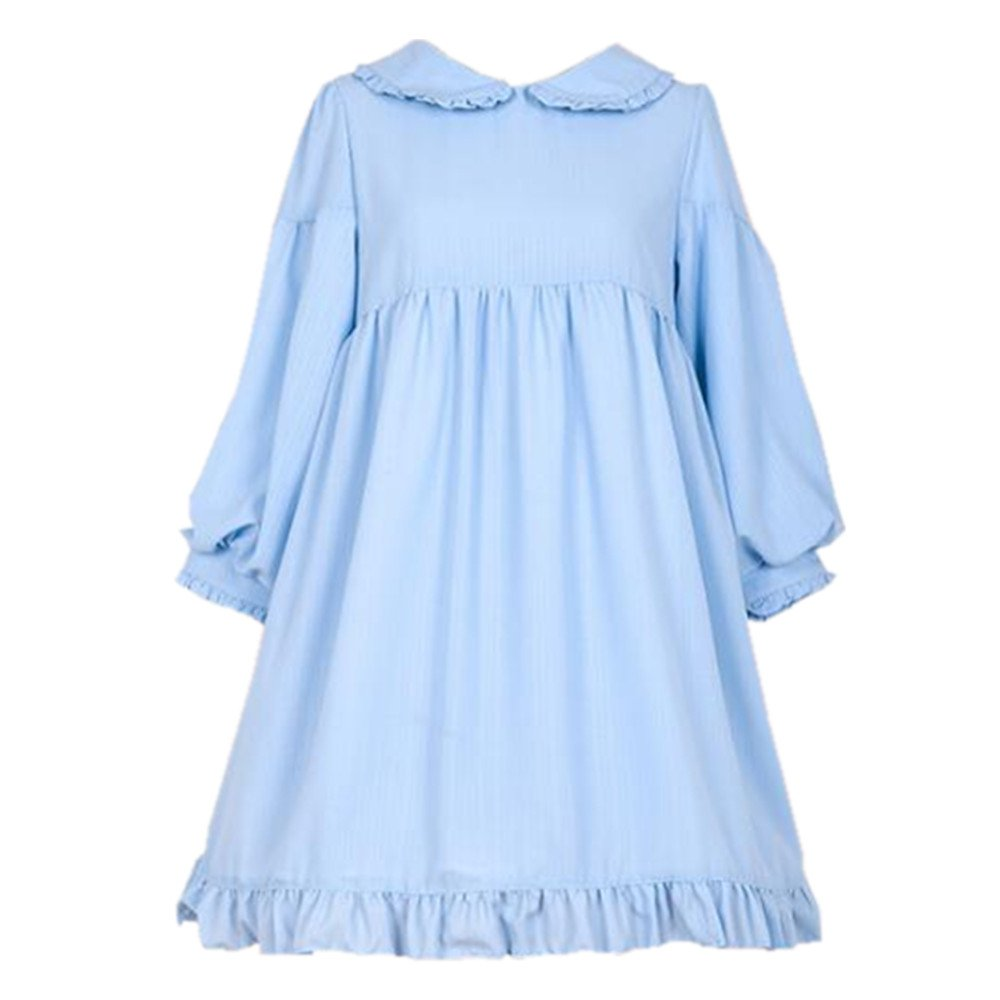 Packitcute Girls' Dresses Japanese Style Sweet Soft Casual Lolita Cute Dress for Spring Autumn (Sky Blue, M)