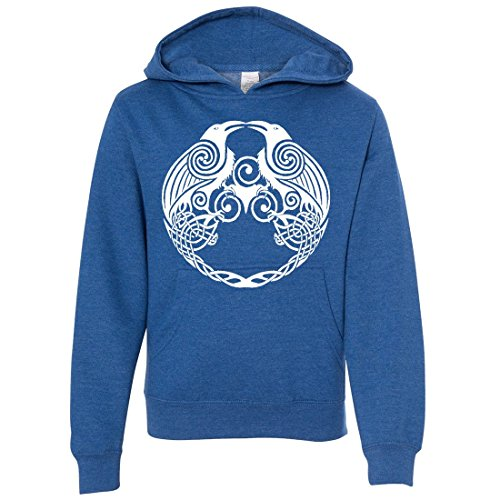 Dual Raven White Print Youth Sweatshirt Hoodie - Royal Heather Large (What Does Peony Mean)