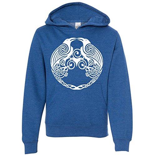 Dual Raven White Print Youth Sweatshirt Hoodie - Royal Heather Large
