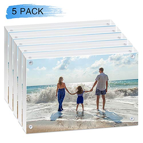 HAISEN Acrylic Photo Frame 4x6 inch,Clear Magnet Photo Rahmen with Gift Box Package ,4 x 6 Picture Frame (5 Pack)