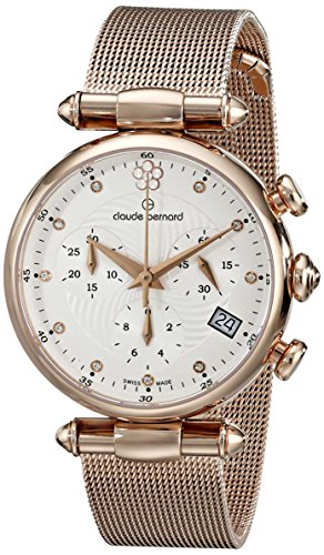 Claude Bernard Women's 10216 37R APR2 Dress Code Chronograph Analog Display Swiss Quartz Rose Gold Watch