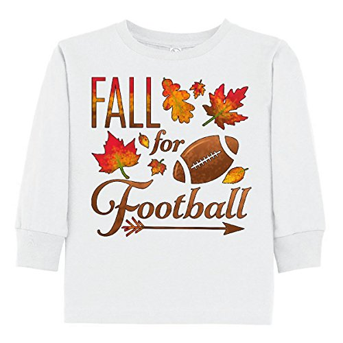 - inktastic - Fall for Football Toddler Long Sleeve T-Shirt 3T White