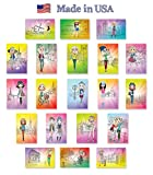 FASHION GIRLS illustrations postcard set of 20 postcards. Fashionable girl illustration post cards variety pack. Made in USA.
