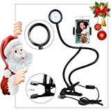 Selfie Ring Light with Cell Phone Holder for Live Stream,[360 Rotating] Flexible Long Arms Gooseneck Mount, Clamp on Lazy Bracket with LED Selfie Light for Mobile iphone 7,6/plus,Samsung,HTC,HUAWEI