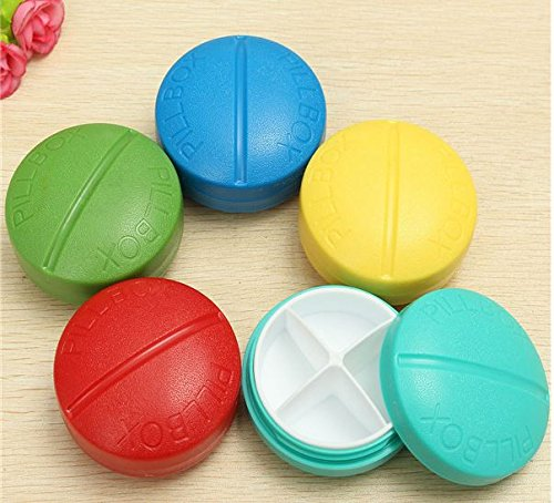 2,Travel 4 Compartment Compact Pill Medicine Tablet Container Case Stroge Medical Tools by SiamsShop