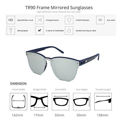 Sunglasses Women C2 Glasses Polarized Mirrored Silver Frame Lens Fashion ZENOTTIC UV 400 Blue fFwBfHtq