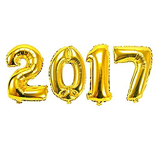 Ruimeier 2017 Balloons Set for 1st 2nd 21st 70th Birthday Decorations 40 inches Large Gold Numbers Decorations Banner Mylar Foil Balloon for Adult Grandpa Grandma Birthday Party Celebration BA2017