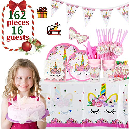 Unicorn Party Supplies Set, YMS 162pcs Unicorn Birthday Party for Girls Serve 16, Theme Party Decorations Includes Disposable Plates Forks Knives Spoons Napkins Horns Colorful Banner FDA -