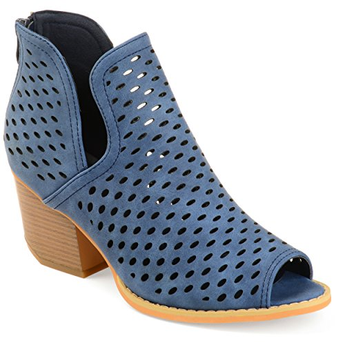 Journee Collection Dames Geperforeerde Zijsplit Open-teen Booties Marine