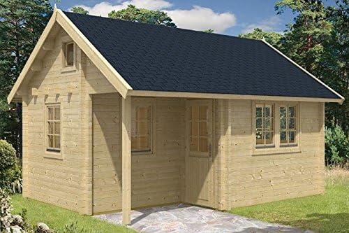 Jardín Casa Pertti 70 ISO bloque casa 410 x 560 cm 70 mm bloque madera casa: Amazon.es: Jardín