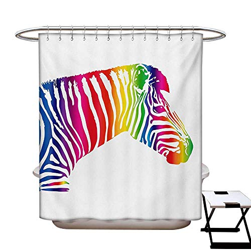BlountDecor Safari Shower Curtains Sets Bathroom Zebra Portrait in Multicolored Stripes Zoo Animal Savannah Mammal with Vibrant Skin Satin Fabric Sets Bathroom W69 x L70 Multicolor -