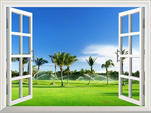 Removable Wall Sticker Wall Mural Beautiful Tropical Palm Trees Creative Window View Wall Decor