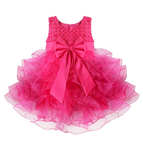 TiaoBug Baby Girls Flower Wedding Pageant Princess Bowknot Communion Party Dress Rose 9-12 Months