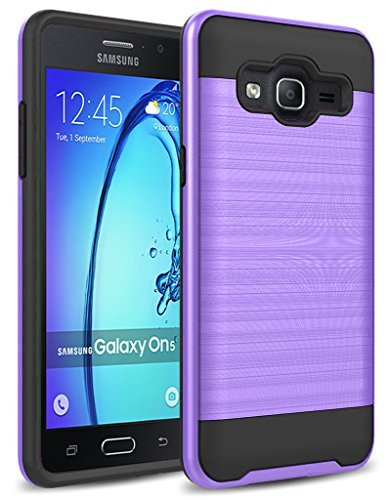On 5 Case, Samsung Galaxy On5 Case, kaesar [Slim Fit] [Shock Absorption] [Impact Resistant] Brushed Metal Texture Hybrid Dual Layer Slim Protector Case Cover for Samsung Galaxy On5 - Purple
