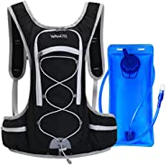 WANOSS Hydration Backpack with 2L 70 oz Water Bladder, Nylon Water Pack with 2 Waist Bags, Lightweight Hydrati