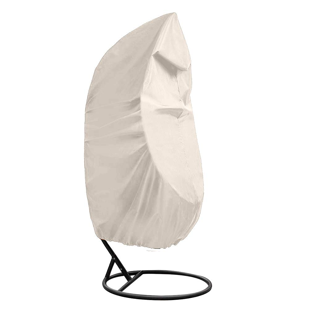 Outdoor Patio Hanging Chair Cover, Heavy Duty Egg Swing Chair Covers Dust Cover, Outdoor Garden Waterproof Protector YZZ13 beige
