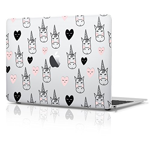 Discount 12 inch New Macbook Plastic Matte Hard Case, Heart Unicorn Design with Keyboard Cover for sale
