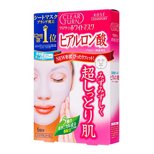 Kose Clearturn White Hyaluronic Acid Paper Facial Mask---5 Piece (Kose Sekkisei Essence)