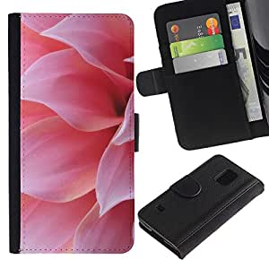 Billetera de Cuero Caso Titular de la tarjeta Carcasa Funda para Samsung Galaxy S5 V SM-G900 / Pink Flower Petal Sun Summer Nature / STRONG