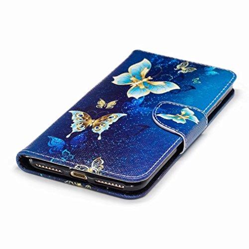 Yiizy Apple IPhone 7 Plus Cover Custodia, delloro farfalla Design Silicone Custodia Flip Cover Portafoglio PU Pelle Cuoio Copertura Case Slot Schede Cavalletto Stile Libro Bumper Protettivo Borsa