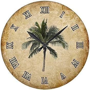 Amazon.com: Palm Tree Wall Clock Decorative Round Novelty Printed ...