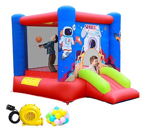 WELLFUNTIME Inflatable Bounce House Jumping Castle Slide with Blower