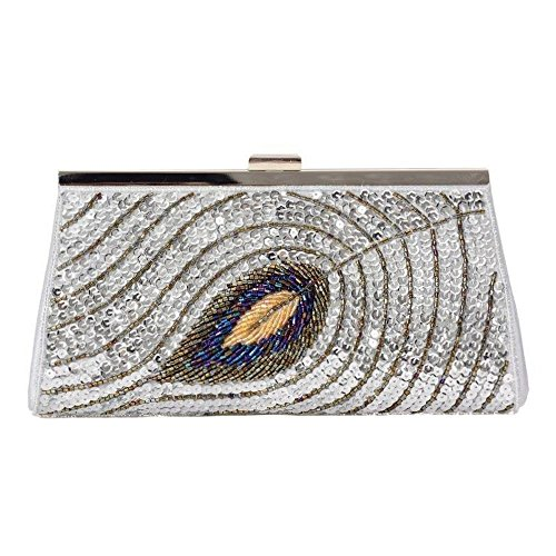 Party Sequin Hand Feather Bag Purse Clutch Silver Design Evening Peacock Bag XwrW4ROqXy