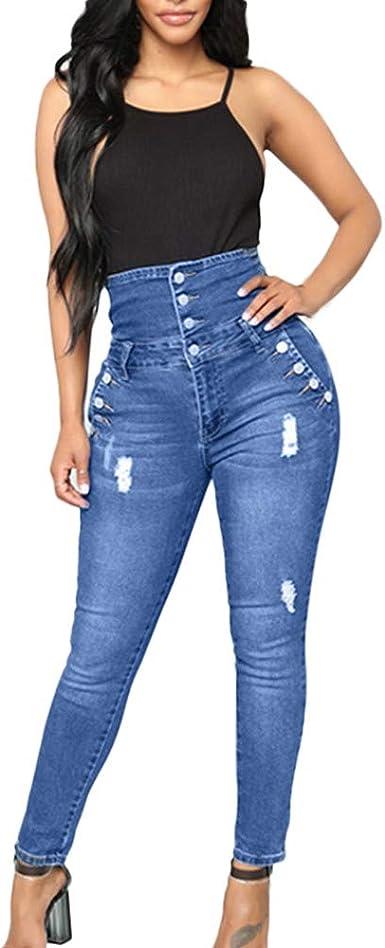 Pantalones Mujer Vaqueros Tallas Grandes Cintura Alta Rotos Ajustados Pantalones Tejanos Largos Mujer Anchos Casual Elasticos Pantalones Push Up Jeans Leggings Gusspower Amazon Es Ropa Y Accesorios