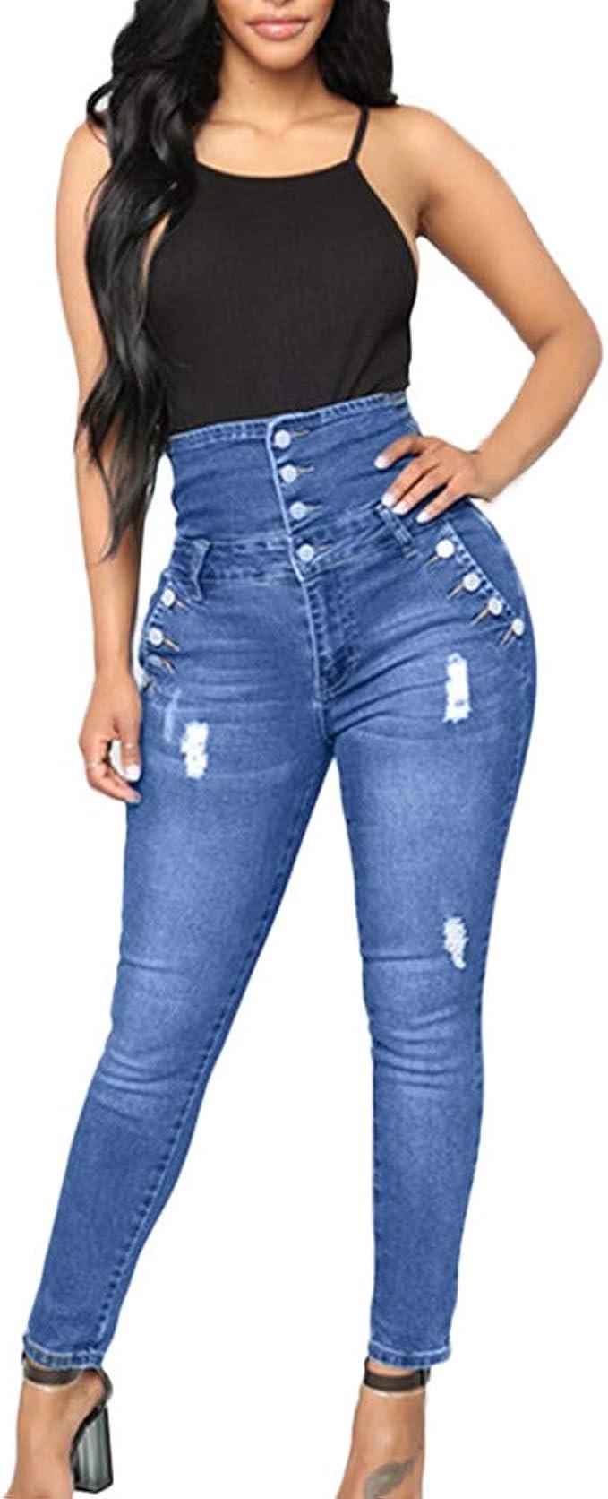 Strir Mezclilla Pantalones Mujer Retro Cintura Alta Vaqueros Con Botones Mujer Skinny Slim Fit Casual Jeans Largo Comodo Denim Pantalones Streetwear Amazon Es Ropa Y Accesorios