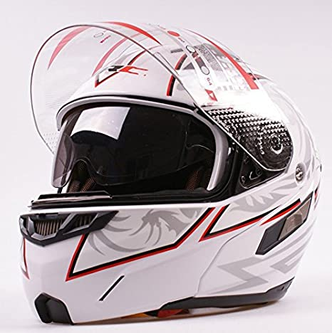 2 Visors Modular Motorcycle Scooter Vespa Full Open Face Flip Up Integrated Helmet White S M L XL XL 61cm ~ 62cm Ama/_TrulyStep New Dual