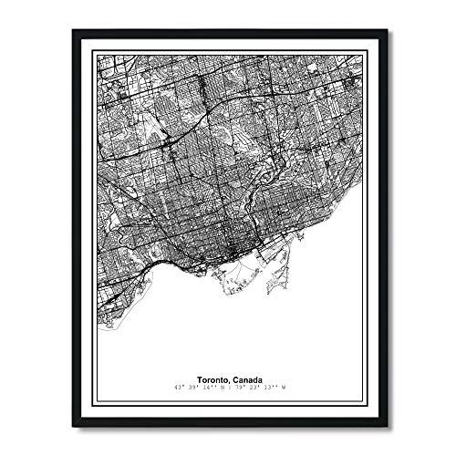 Susie Arts 11X14 Unframed Toronto Canada Metropolitan City View Abstract Street Map Art Print Poster Wall Decor V301