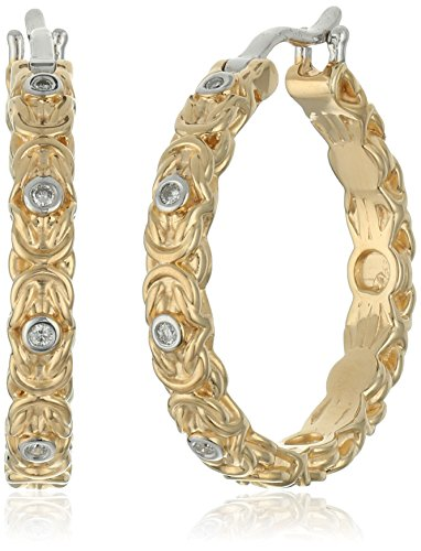 Yellow Gold Plated Sterling Silver Diamond Byzantine Hoop Earrings by Amazon Collection