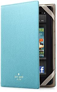 kate spade new york Pebbled Leather Kindle Fire Case Cover, Aqua (will not fit HD or HDX models)