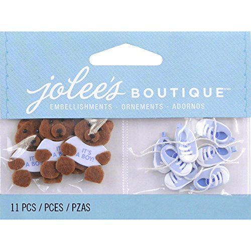 Jolee's Boutique Scrapbooking Embellishment, Baby Boy Bear and Booties Baby Boy Embellishment